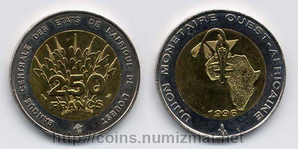West African States: franc - 250. ID = 543